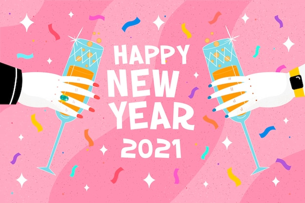 Flat new year 2021 background