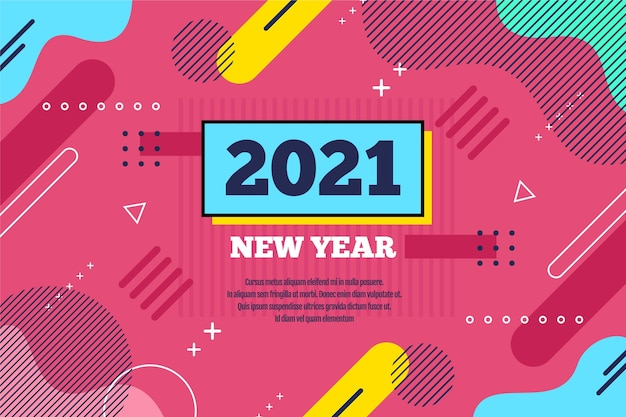 平らな新年2021年の背景