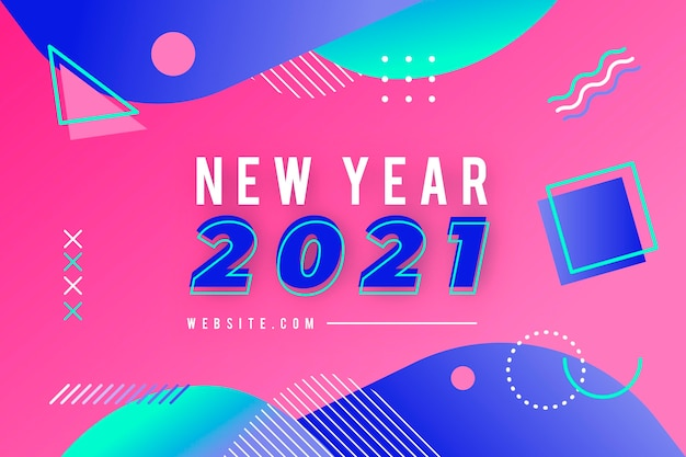 평면 새 해 2021 배경