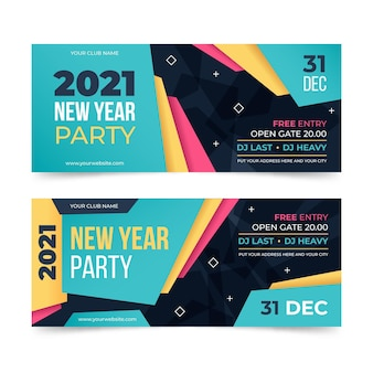Flat new year 2021 party banners