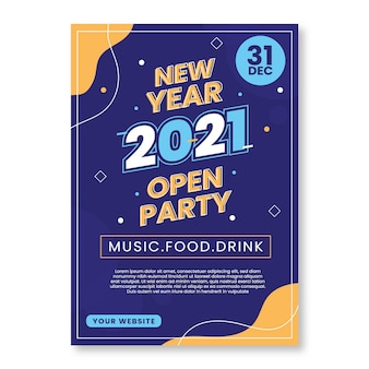 Flat new year 2021 party flyer / poster template