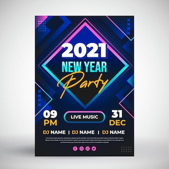 Flat new year 2021 party flyer template