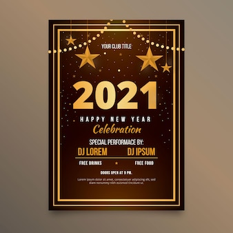 Flat new year 2021 party poster template