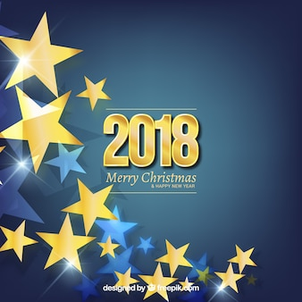 Flat new year background with golden stars
