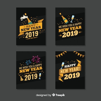 Flat new year cards collection