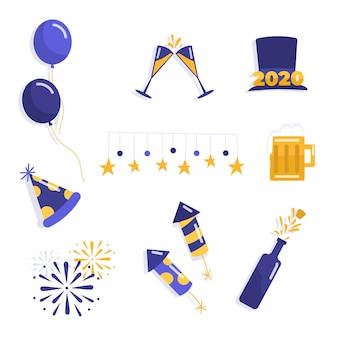 Flat new year element collection