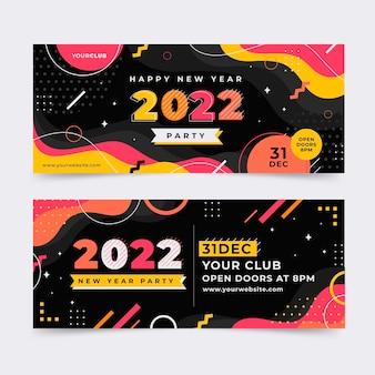 Flat new year horizontal banners set