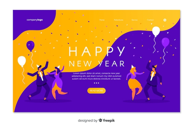 Flat new year landing page on fluid background