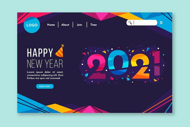 Flat new year landing page template