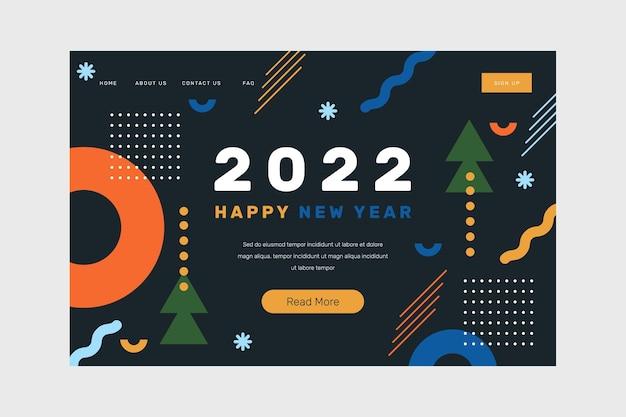 Modello di pagina di destinazione piatto del nuovo anno