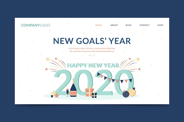 Flat new year landing page with garland and gifts
