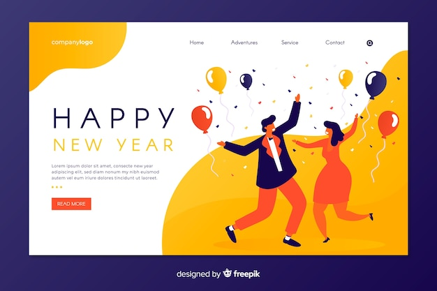 Flat new year landing page with people dancing