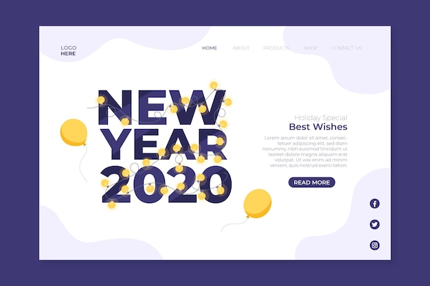 Flat new year landing page
