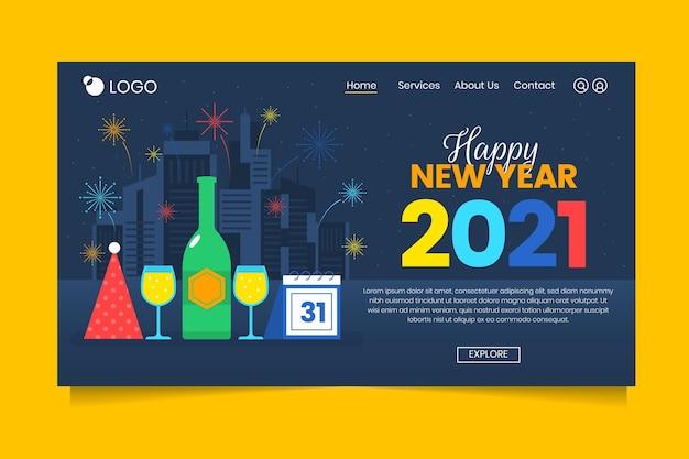 Flat new year landing page