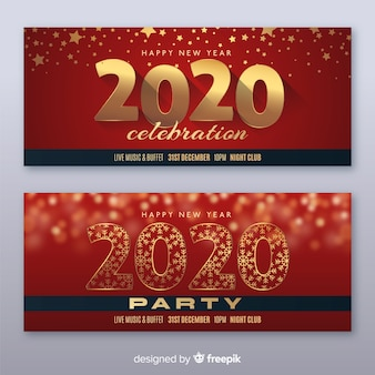 Flat new year party banner