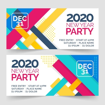 Flat new year party banners