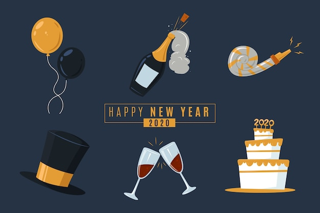 Flat new year party element collection on dark background