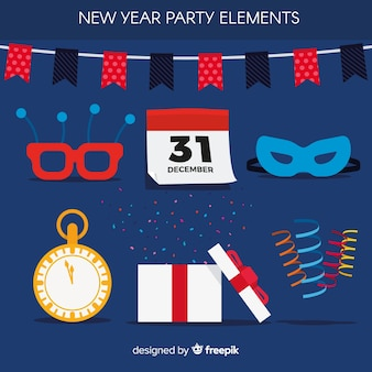 Flat new year party element collection