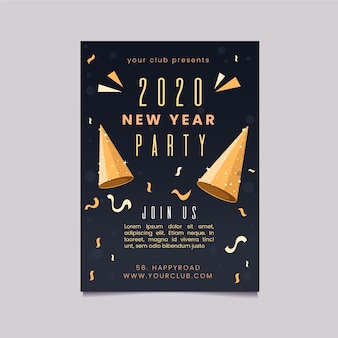 Flat new year party flyer template