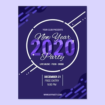 Flat new year party flyer