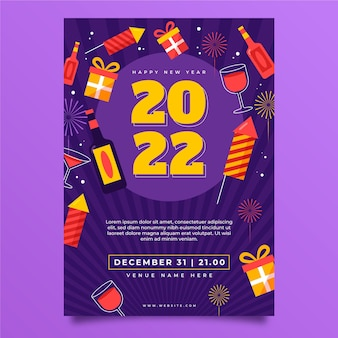 Flat new year vertical poster template