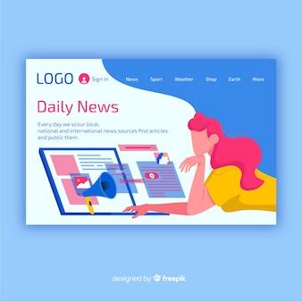 Flat news landing page template