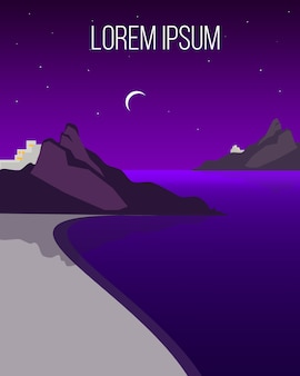 평평한 밤 해안 풍경 템플릿