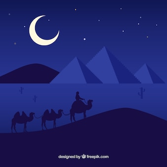 Flat night landscape with egyptian pyramids and caravan of camels