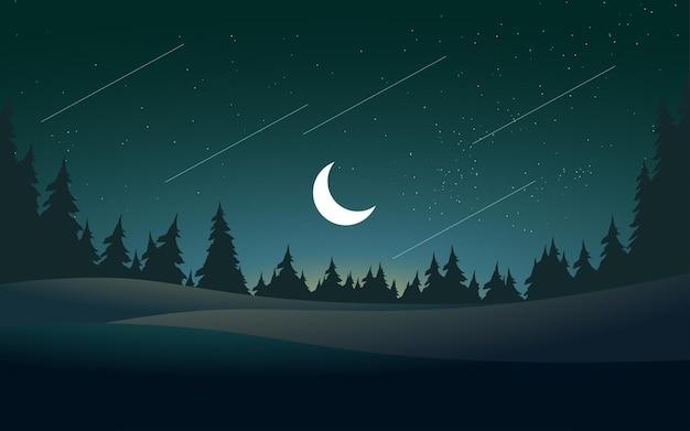 숲과 달이있는 평평한 밤 풍경