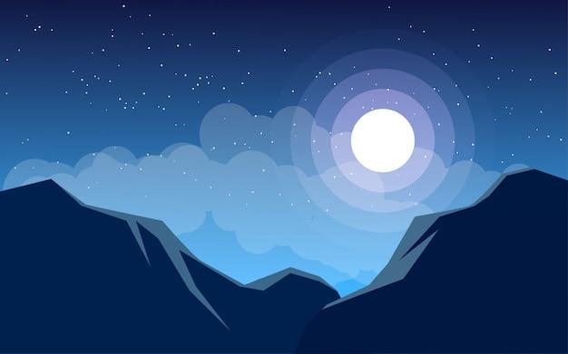 丘のある平らな夜の風景