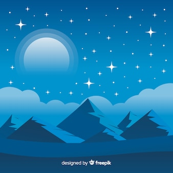 Flat night sky background