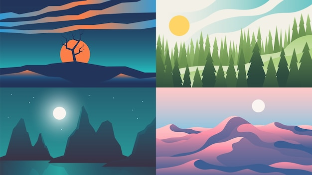 地平線に山と平らな夜の夕焼け空