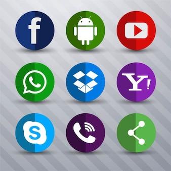 Flat nine icons for social media