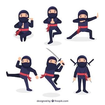 Flat ninja character collection in different poses