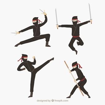 さまざまなポーズでフラットな忍者のキャラクターコレクション