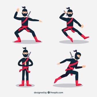 Flat ninja character collection