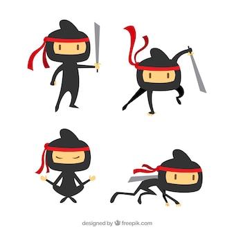 Плоский персонаж ниндзя в разных позах