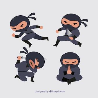 異なるポーズのフラットな忍者キャラクター
