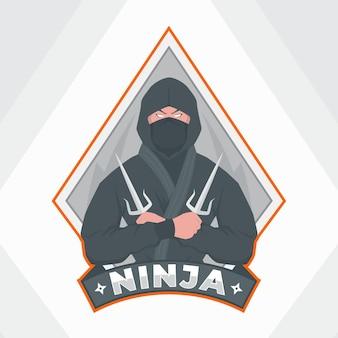 Плоский шаблон логотипа ниндзя