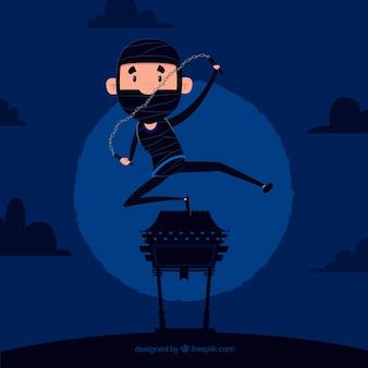 Guerriero ninja piatto su sfondo blu