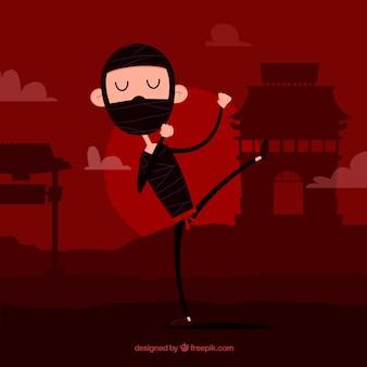 Flat ninja warrior on red background