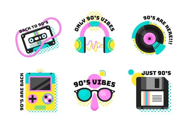 Collezione di badge piatto nostalgico degli anni '90