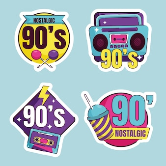 Коллекция плоских ностальгических значков 90-х