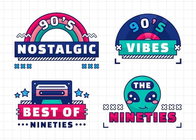 플랫 레트르 90's 배지 컬렉션