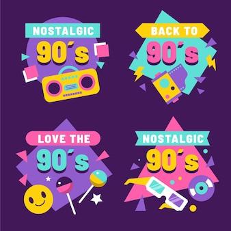 Flat nostalgic 90's badges
