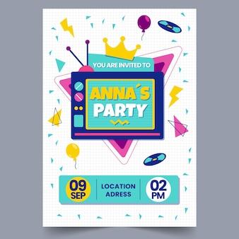 Invito di compleanno piatto nostalgico degli anni '90