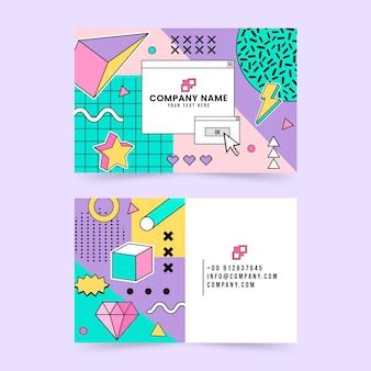 Flat nostalgic 90's business cards
