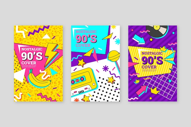 Flat nostalgic 90's covers