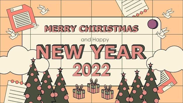 평면 향수 90 년대 새 해 복 많이 받으세요 복고풍 배경