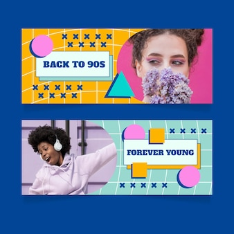 Set di banner orizzontali piatti nostalgici anni '90 con foto